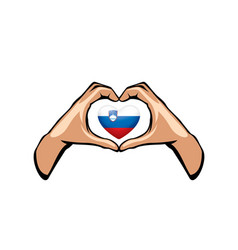Slovenia flag and hand on white background vector