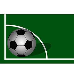 Soccer ball on soccer field background vector