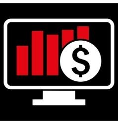 Stock Market Monitoring Flat Icon vector image