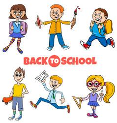 students children back to school cartoon vector image