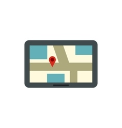 Tablet with a map of area icon flat style vector image