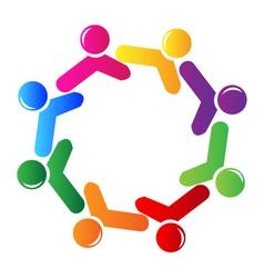 Teamwork social networking logo vector image