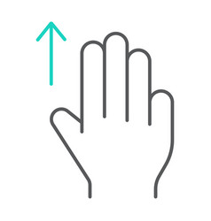 three fingers drag up thin line icon gesture and vector image