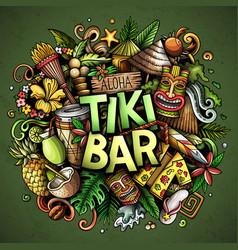 Tiki bar hand drawn cartoon doodle vector