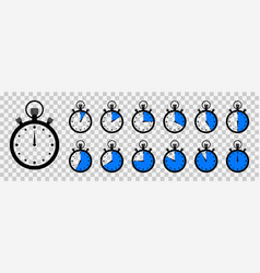 Timer and stopwatch clock with countdown time vector