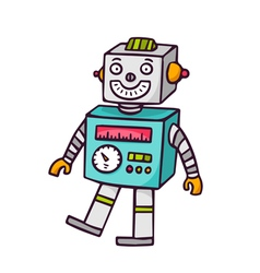 Toy robot isolated on white vector