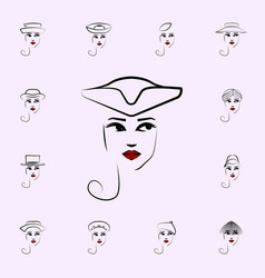 tricorn hat girl icon hat girl icons universal vector image