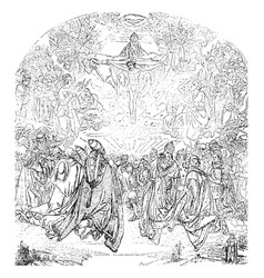 Trinity is in the belvedere vintage engraving vector