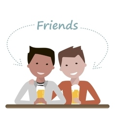 Two man friends drinking beer vector