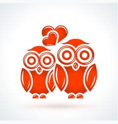 two owls with hearts st valentines day design vector image