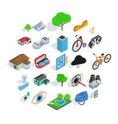 urban structure icons set isometric style vector image