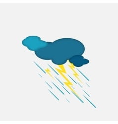 Weather Icon of the Rainy Cloud and Lightning vector image