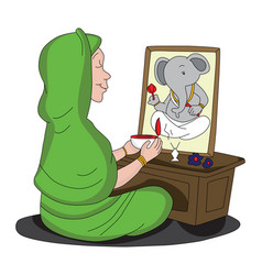 Woman worshipping lord ganesha vector