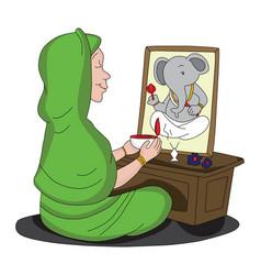 woman worshipping lord ganesha vector image