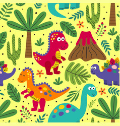 Yellow seamless pattern with cute dinosaurs vector