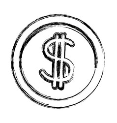 coin dollar cash money currency icon vector image