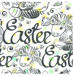 Ink hand drawn black and white easter ornament vector