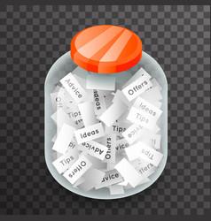 isometric glass pot jar advice offer idea vector image vector image