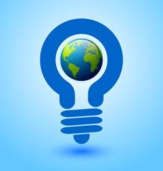 Lightbulb earth vector image vector image