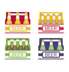 Pack of beer bottles flat style icon set vector