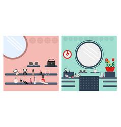digital image woman make up room vector image