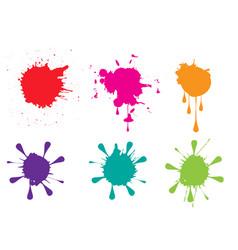 colorful paint splatters set vector image