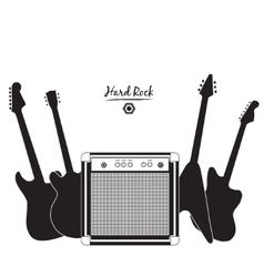 electric guitars and combo amp hard rock vector image