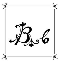 flowers floral plant alphabet brush vector image