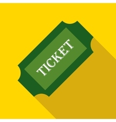 Green paper ticket icon flat style vector