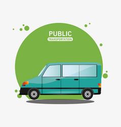 green van public transport design vector image