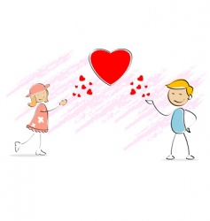 kids blowing flying kisses vector image vector image