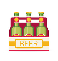 Pack of beer bottles flat style icon vector