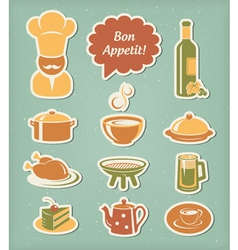 Restaurant menu icons set vector image