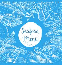 seafood menu template fish shrimps oyster lobster vector image