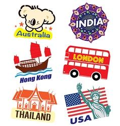 World country travel landmark icon set vector image