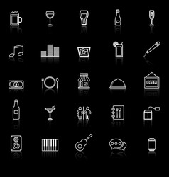 bar line icons with reflect on black background vector image vector image
