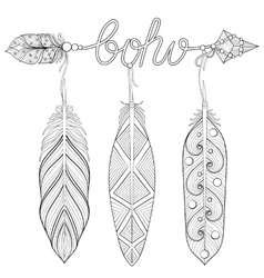 Bohemian Arrow Hand drawn Amulet wih word Boho vector image