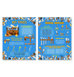 construction and house repair work tool poster set vector image