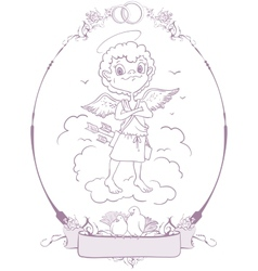 Cupid Wedding in frame vector image vector image
