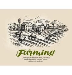 Farm sketch Agriculture farming vector image