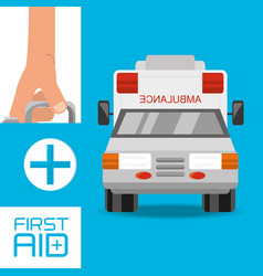 Hand with first aid kit suitcase and ambulance to vector