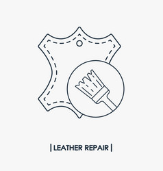 leather repair outline icon vector image vector image