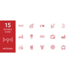 15 antenna icons vector image
