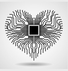 abstract electronic circuit board in shape of vector image