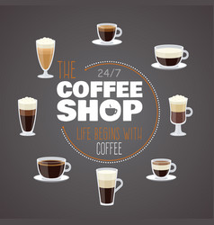 all day with coffee - coffee shop banner vector image
