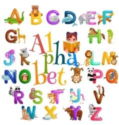 Animals alphabet set for kids abc education vector