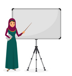 Arabian businesswoman at a presentation standing vector
