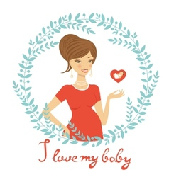 Beautiful mom to be holding heart shape vector image