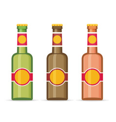 Beer bottles with labels isolated on white vector
