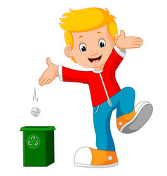 Boy character throws garbage in trash vector